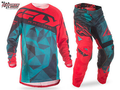 Fly Racing Kinetic Mesh Crux Motocross Combo 2017 Teal Rot Enduro Hose Jersey