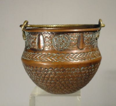 Antique Russian Hallmarked Repousse Copper Bronze Bowl Silverplate