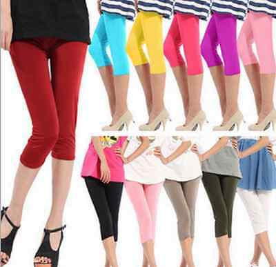 New Women Ladies Candy Color Stretch Leggings Cropped Capri Pants Trousers