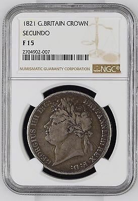 """1821 """"SECUNDO"""" NGC F15 (VF-) Great Britain Silver Crown - KM# 680.1"""