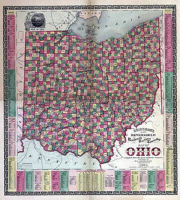 1873 Township & Railroad Map of Ohio