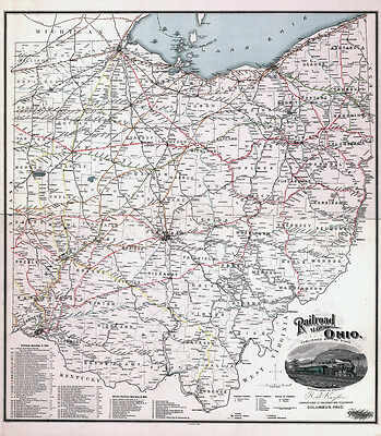 1898 Railroad Map of the State of Ohio