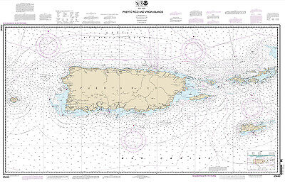2013 Nautical Map of Puerto Rico and Virgin Islands