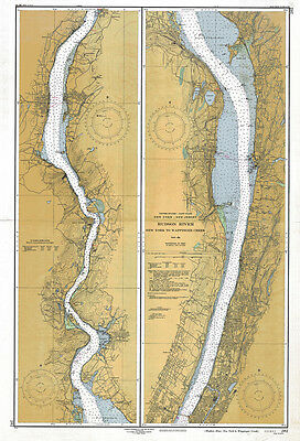 1950 Nautical Map of the Hudson River