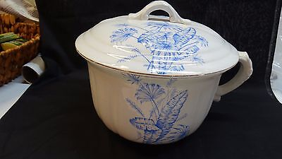 Warwick Semi Porcelain Chamber Pot with Lid Blue Flowers on White Vintage