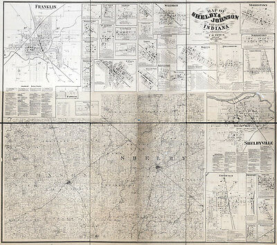 1866 Farm Line Map of Johnson & Shelby County Indiana LARGE 40 x 45