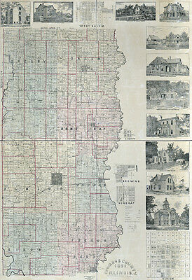 1891 Farm Line Map of Edwards County Illinois Albion LARGE 40 x 58