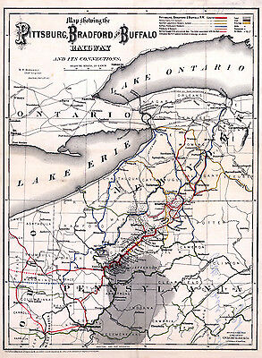 1882 Rail Road Map Pittsbug Bradford and Buffalo Railway & Oil Well Locations