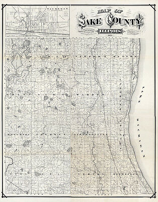 1873 Farm Line Map of Lake County Illinois Waukegan