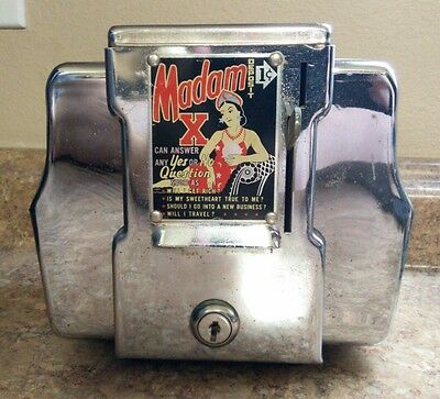 Madam X 1 Cent Coin Operated Fortune Teller Napkin Dispenser Menu Holder 1950's