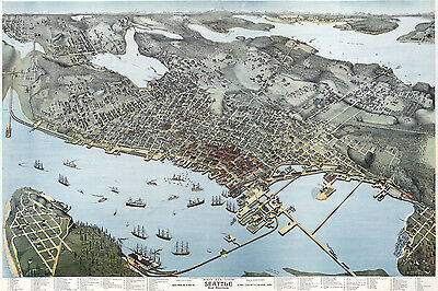 1891 Aerial Panoramic Map of Seattle King County Washington CANVAS PRINT