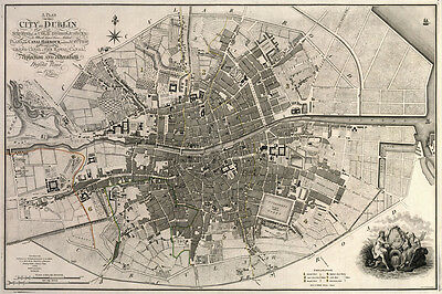 1797 Map of the City of Dublin Ireland