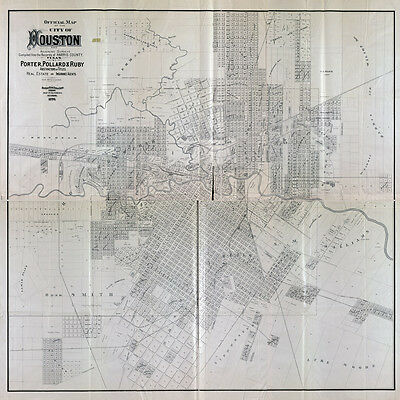 1890 Map of Houston Texas & Adjoining Surveys LARGE 40 x 40