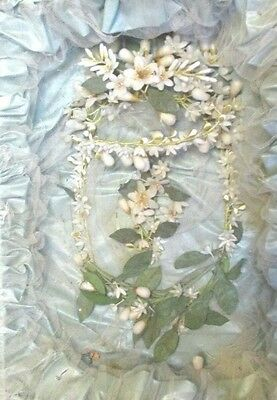 Lovely Vintage Bridal Wax Floral Head Piece Shadow Box No Glass Stunning Vintage