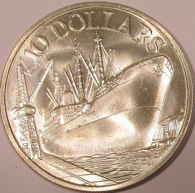 1977 Singapore Silver 10 Dollars - 10th Anniversary of Independence - KM# 15