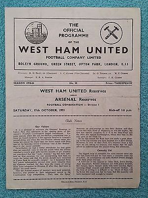 1953 - WEST HAM v ARSENAL PROGRAMME - RESERVES - FOOTBALL COMBINATION