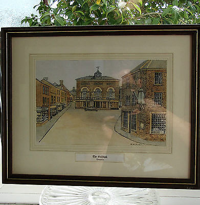 Antique Framed Hand Coloured Print Guild Hall Carmarthen South Wales L M Fowler