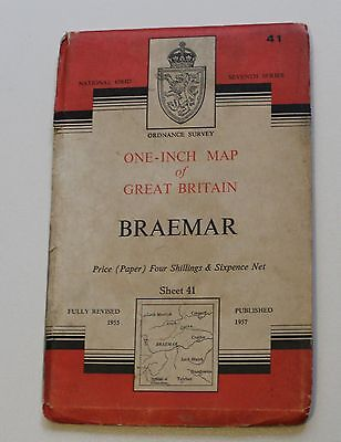 Ordnance Survey One-Inch Map 41 BRAEMAR (1957 Paper)
