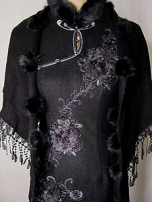 Qipao Cheong-sam Handmade Chinese Asian Oriental Women's Dress Wool w/ Shawl