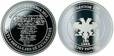 Albania Coin 100 Leke, 2012. 100th Anniversary of Independence. BU, UNC. Silver