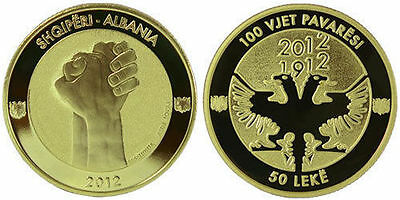 Albania Coin 50 Leke, 2012. 100th Anniversary of Independence. BU. UNC.