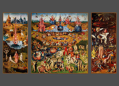 OVERWHELMING GARDEN OF EARTHLY DELIGHTS by Bosch vintage  art poster