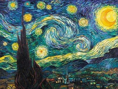 Starry Night By Vincent Van Gogh Print on Paper & Canvas Giclee Poster