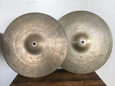 "AJAHA Italian 13"" Hi-Hat Cymbals Pr UFIP 40s Vtg Gretsch Imported Italy Lot of 2"