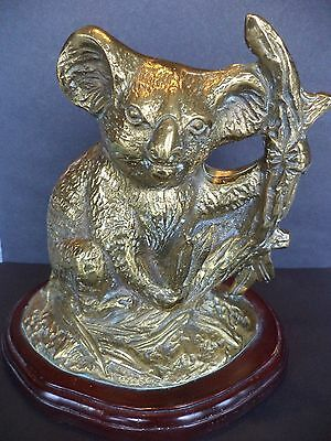 "Vintage 7"" Brass Koala Eucalyptus Tree On Wood Base Figurine Statue Sculpture"