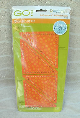 """Accuquilt Go! Fabric Cutting Die """"Half Square"""" 4"""" Finished Triangle - #55031 NEW"""