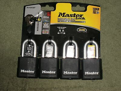 Master Lock Magnum 4 Pack Padlocks Keyed Alike M115Xqlf Brand New