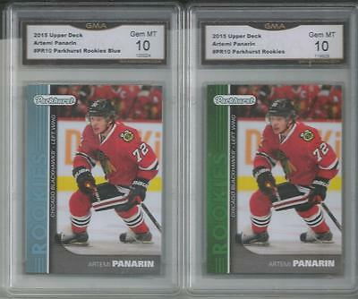 2015-16 Ud Parkhurst Blue And Green Artemi Panarin Rookie Card Pr-10 Gem Mt 10