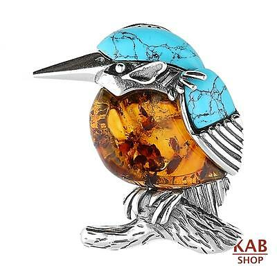 Baltic Amber & Turquoise Sterling Silver925 Bird Kingfisher Brooch . Kab-275