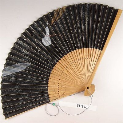 YU118 SENSU Japanese Fan painting Picture Geijyutu Traditional Vintage Gourd