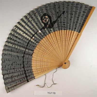 YU116 SENSU Japanese Fan painting Picture Geijyutu Traditional Vintage Silver