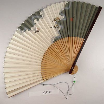 YU117 SENSU Japanese Fan painting Picture Geijyutu Traditional Vintage Silver