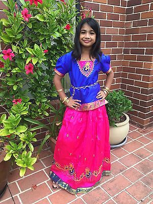 """32"""" Age 8 - 10 Bollywood Kids Girls South Indian Silk Skirt Blouse Blue Pink"""