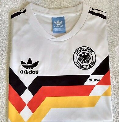 Embroidered 1990 West Germany home retro football shirt - L