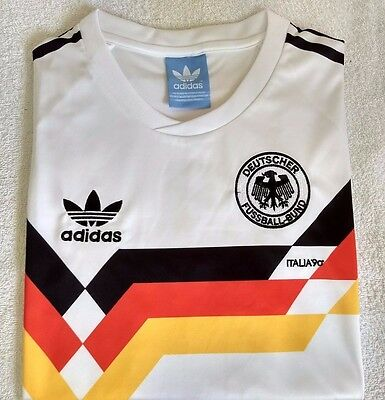 Embroidered 1990 West Germany home retro football shirt - XL