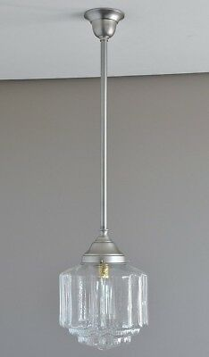 "MAGILL-PENDANT LIGHT-BRUSHED NICKEL-ART DECO ""St KILDA"" CLEAR GLASS SHADE-RETRO"