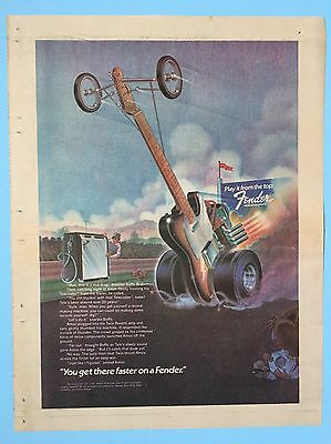"""1974 You Get There Faster On A Fender Dragster Cartoon 11X14"""" Ad"""