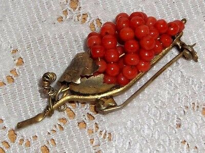 Vintage Antique 800 Gold Gilt Red Coral Bead Grape Pin Brooch