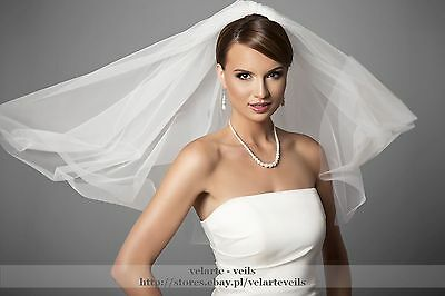 """NEW 2T 2 Tier Sheer white No Trim 31"""" Long Elbow Layer Wedding Veil W/ Comb S"""