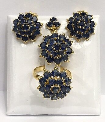 14k Solid Yellow Gold Cluster Set Earrings Ring Pendant, Natural Sapphire 10TCW