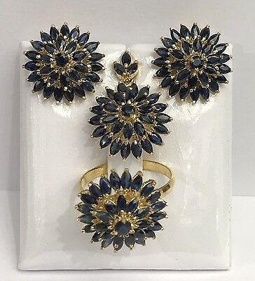 14k Solid Yellow Gold Cluster Round Set Earrings Ring Pendant,Natural Sapphire.