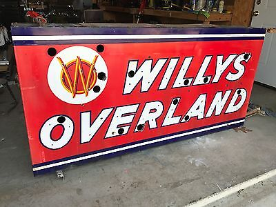 Porcelain Neon Willys Overland - Original - Double Sided - Jeep - Vintage Sign