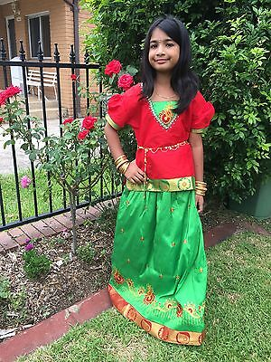 """22"""" Age Size 2 - 3 Bollywood Kids Girls South Indian Silk Skirt Blouse Green Red"""