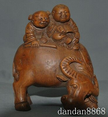 old china Bamboo root carving Boy Lad girl children Ox bull oxen cattle statue A