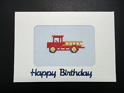 "Cross Stitch Card-""Happy Birthday""- (Completed card)"