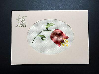 "Cross Stitch Card-""Just a Note""- (Completed card)"
